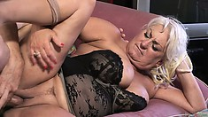 Slutty grandma getting rammed hard by a young cock, she still got the moves!