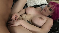 Alt shemale with big boobs and little cock is getting her ass drilled