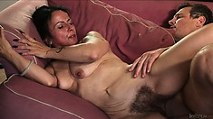 Hairy bush momma gets it drilled hard by his stiff bush whacker