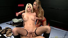 Two rude sluts up on the ring to show which one of them handles cocks better