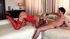 Blondie in red stockings and high heels fucking like only a slut can