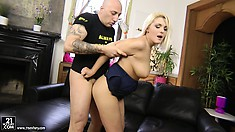 Busty blonde Dominica rims her fuckmate's ass before getting hers stretched