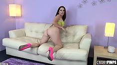 Melody Jordan strikes slutty poses as she does a strip tease