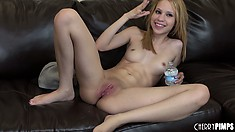 Mae enjoys the pussy banging action on the couch and receives his cum on her face