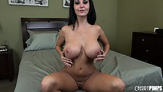 Cute slut Ava Addams shakes her big, fake boobies and masturbates
