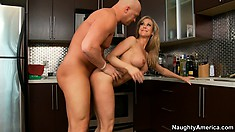 She sticks out that fine ass to fuck, slurps cock and gets on to ride