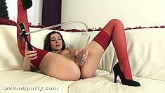 Slender brunette strips her sexy red lingerie and gets ready to fulfill her desires