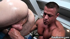 The masseur pounds that anal hole from behind before cumming on that ass