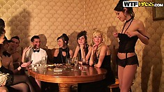 Gorgeous sexy slender babes enjoy every moment of the retro style sex party