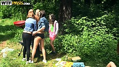 The picnic turns into some fun loving sexual play after eating