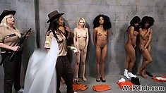 Smoking hot black dykes get it on in their jail cell after hours