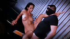 Brunette cop takes a load from a criminal right between her tits
