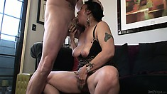 Old, floppy granny gets a hard cock to suck and takes it deep