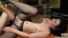 Amateur housewife, Emilia wears stockings while having hot sex with Charles