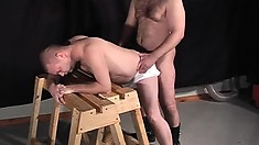 Gay slave grinds his teeth while getting his butt banged from behind