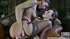 Barbara and Irene like using the strapon, best of all, for hot lesbian anal action