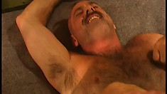 Prison gay bears have a nasty and fun foursome eating dick and banging ass