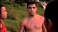 Latino stud survives in the woods only to be fucked up the ass by the horny gay natives