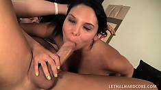 Busty Latina Missy Martinez reveals her oral skills before getting pounded hard