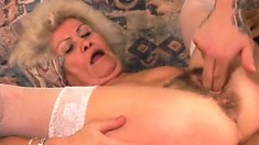 Irresistible sensual granny is eager to play with a massive rod