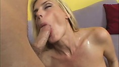 Sexy blonde cougar with lovely tits can't get enough of a hard dick banging her cunt