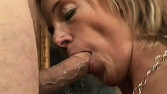 It's a messy facial spunking for silicone tittied MILF Desire