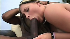 Hot blonde has two black guys fucking her holes and cumming on her face