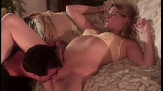 Skinny blonde with perky tits gets her tight cunt stuffed with cock