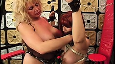 Hot chick with a stunning rack gets tied up to take her punishment