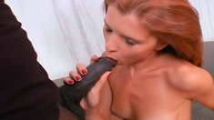 Skinny redhead amateur has a hung black guy punishing her tight pussy