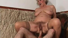 Lusty granny wants to have her cunt filled by a young stallion