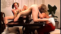 Blonde cutie Quincy May joins two sexy girls for a lesbian threesome