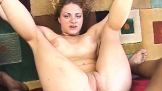 Kinky young chick has a naughty addiction to stiff black snakes
