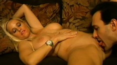 Stacked blonde milf with hot legs has a guy fucking her needy holes like she desires