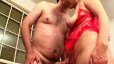 Blonde milf in red lingerie gets her feet licked and her pussy fucked