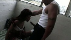 Hung black guy lays it hard into a petite black bimbo's snatch