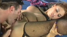 Melanie Jagger has a muscled guy fingering and fucking her anal hole