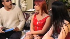 Katja and Renee getting their fiery holes fucked hard by a black stud