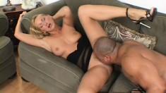 Nasty blonde MILF seduces the horny neighbors and rides their BBCs
