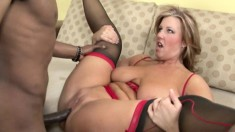 Fierce blonde chubster in red lingerie takes on a massive black cock