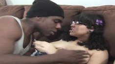 Chubby brunette coed with massive tits gets banged by a gangsta