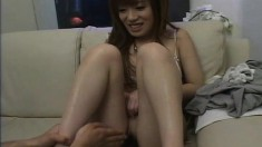 Adorable Japanese chick with a perky ass loves to play with sex toys