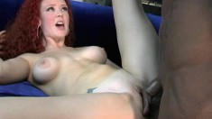Redhead Audrey Hollander gets a huge dick up her cunt and ass