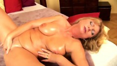 Voluptuous cougar Irena uses her skillful fingers to reach her climax