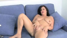 Buxom cougar Abigale has a tight shaved pussy yearning for attention