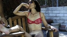 Elegant Oriental milf Song exposes her pussy and teases with a sex toy