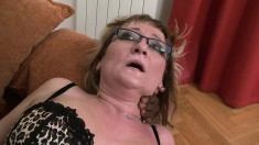 Horny mature lady puts on her best lingerie and fucks a big black cock