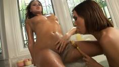 Valentina Vaughn enjoys the pleasures of lesbian love in the hot tub