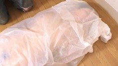 Japanese girl gets toyed and covered in wet paper, then he vibrates her