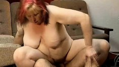 Lustful mature plumper Dora works her aching snatch on a hard stick